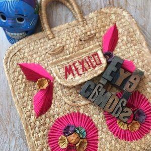 "Rattan ""MEXICO"" Purse w/ Yarn & Straw Flowers"